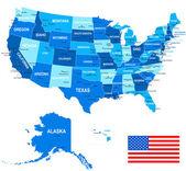 United States (USA) - map flag and navigation icons - illustration
