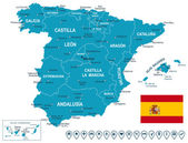 Spain map - map flag and navigation labels - illustration
