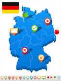 Germany map and navigation icons - Illustration.