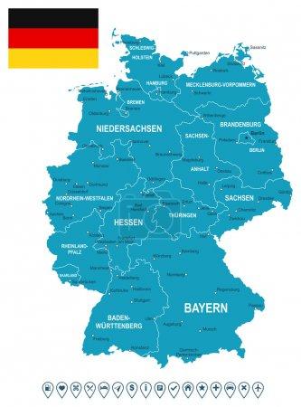 Germany map, flag and navigation labels - illustration.