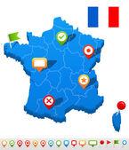 France map and navigation icons - Illustration