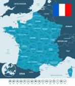 France map flag and navigation labels - illustration