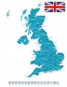 Map of Great Britain and flag - highly detailed vector illustration Image contains land contours country and land names city names flag navigation icons