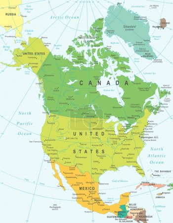 North America - map - illustration.