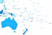 Austrálie a Oceánie - mapa - ilustrace