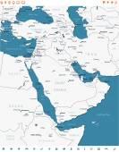 Middle East - map and navigation labels - illustration
