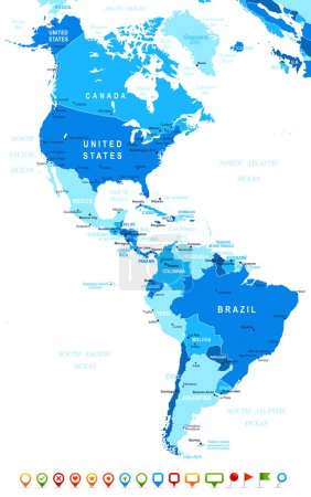North and South America - map and navigation icons - illustration.