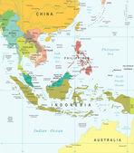 Jihovýchodní Asie - mapa - ilustrace