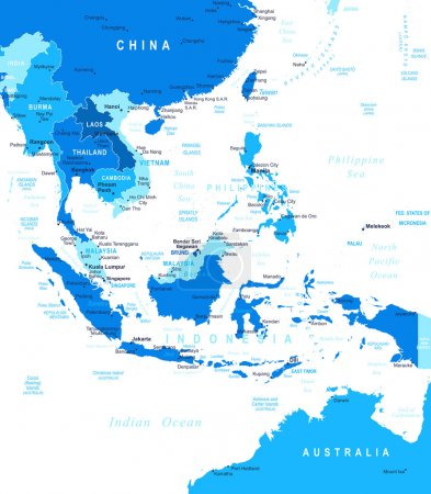 Southeast Asia - map - illustration.