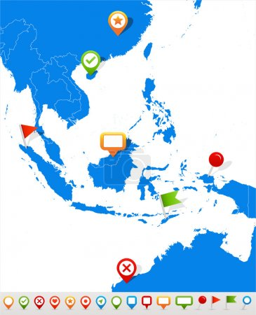 Southeast Asia map and navigation icons - Illustration.