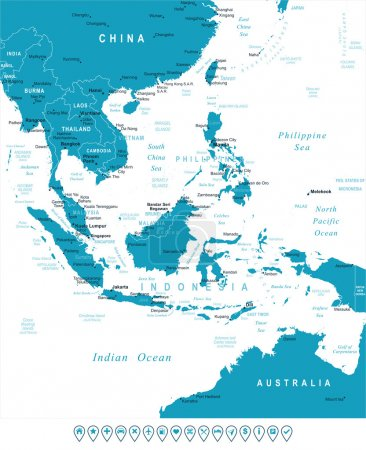 Southeast Asia - map and navigation labels - illustration.