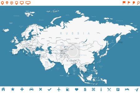 Illustration pour Carte Eurasie - illustration vectorielle très détaillée. L'image contient les contours des terres, les noms des pays et des terres, les noms des villes, les noms des objets d'eau, les icônes de navigation . - image libre de droit