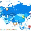 Постер, плакат: Eurasia map and navigation icons illustration