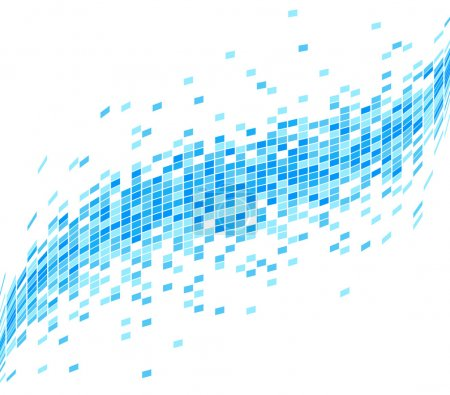 Abstract Blue Mosaic Wave Background - Illustration.