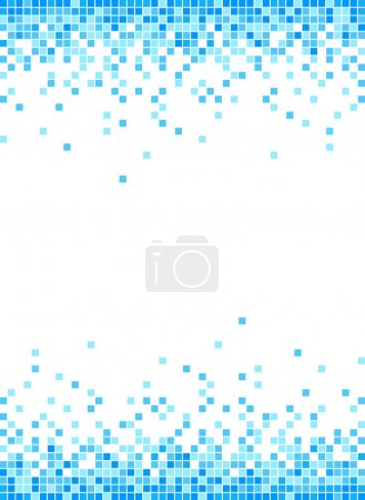 Abstract Blue Mosaic Frame Background - Illustration.