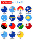 Flat Round Flags Of Oceania - Full Vector Collection