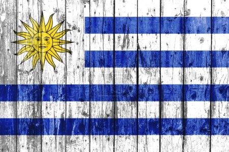 Photo pour Drapeau de l'Uruguay peint sur cadre en bois - image libre de droit