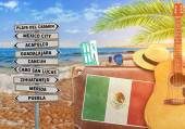 Concept of summer traveling with old suitcase and Mexico town sign with burning sun