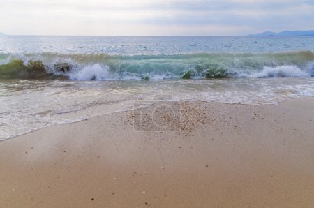 Photo for Big wave on sea with beach background - Royalty Free Image