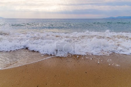 Photo for Foam wave on sea with beach background - Royalty Free Image