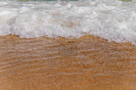 Photo for Big close foam wave on sea close with beach - Royalty Free Image