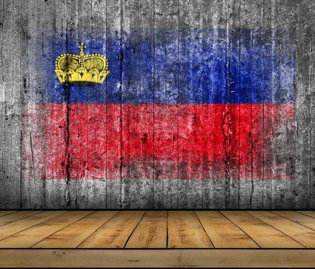 Liechtenstein flag painted on background texture gray concrete with wooden floor
