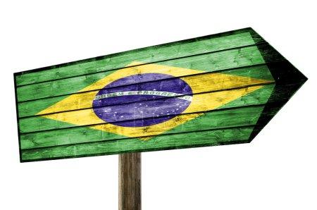 Photo pour Drapeau du Brésil signe en bois - image libre de droit