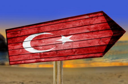 Turkey Flag wooden sign on beach...
