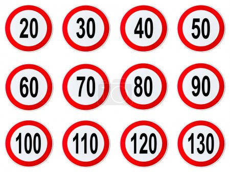 Speed Limit Sign - Set of circle speed limit signs with red border isolated on white