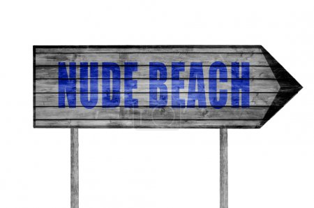 Photo pour Panneau en bois nu plage isolé sur blanc - image libre de droit