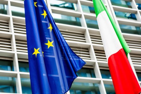 Photo for Flags of Italy and the European Union ,close up - Royalty Free Image