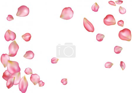 Illustration for Abstract background with flying pink rose petals. Vector illustration isolated on a white background. - Royalty Free Image