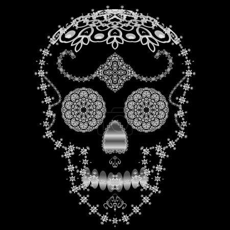 Illustration for Silver ornamental sugar skull. Dia de los Muertas Day of the Dead. - Royalty Free Image