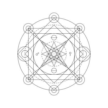 Mystical geometry symbol. Linear alchemy, occult, ...