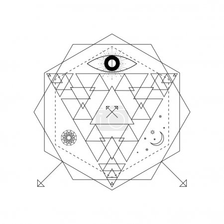 Abstract mystical geometry symbol. Vector linear alchemy, occult and philosophical sign.