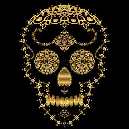 Illustration for Gold ornamental sugar skull. Dia de los Muertas (Day of the Dead). - Royalty Free Image