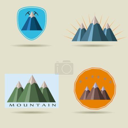 Set of icons of mountains. beautiful stickers. logo mountain