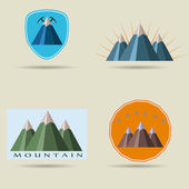 Set of icons of mountains beautiful stickers logo mountain
