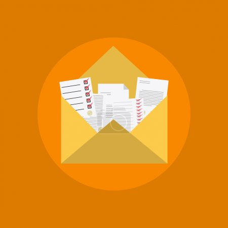 e-mail icon with different messages, contracts, proposals, advertising, list