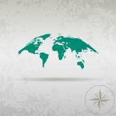 Egy iránytű, egy elegáns design a föld térképe