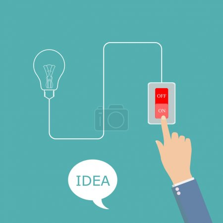 Illustration for Concept of big ideas inspiration innovation, invention, effective thinking. Hand presses the button to enable - Royalty Free Image