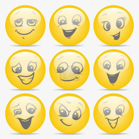 Illustration for Set of smiley faces expressing different feelings - Royalty Free Image