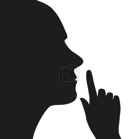 Illustration pour Silence icône homme et main - image libre de droit