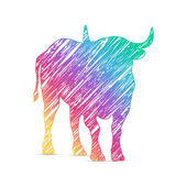 painted bull logo icon