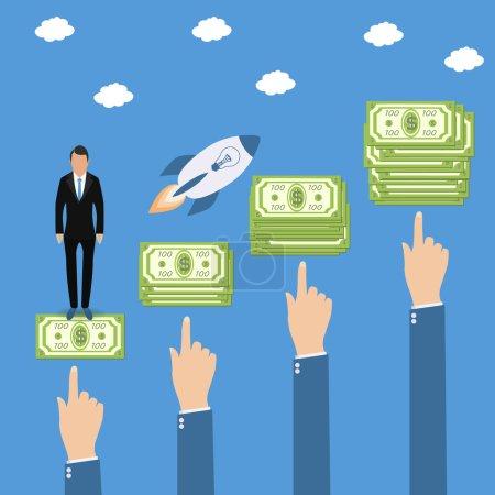 Businessman on the steps to success with a super idea. profit money