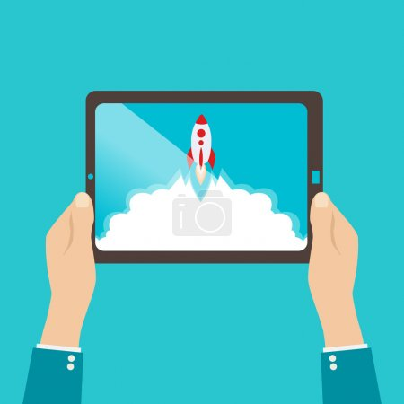 Start up business concept for mobile app development or other disruptive digital business ideas. Cartoon rocket launching from tablet.