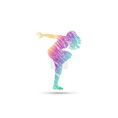 Dance girl logo in rainbow colors
