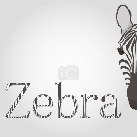Zebra Head and letters in the style of black and white stripes