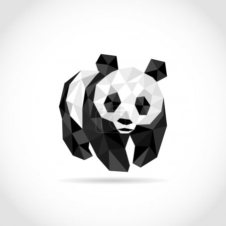 panda in Polygon style. low poly design in triangles