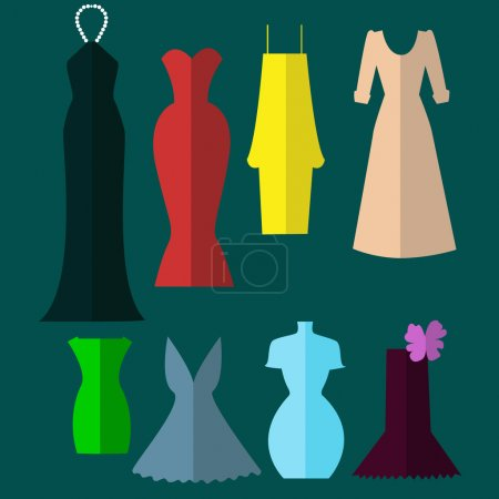 Dresses of different colors - eight styles.